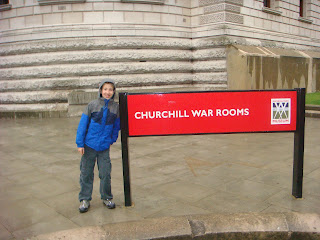 Michael McGerty in front of the Churchill War Rooms sign, London