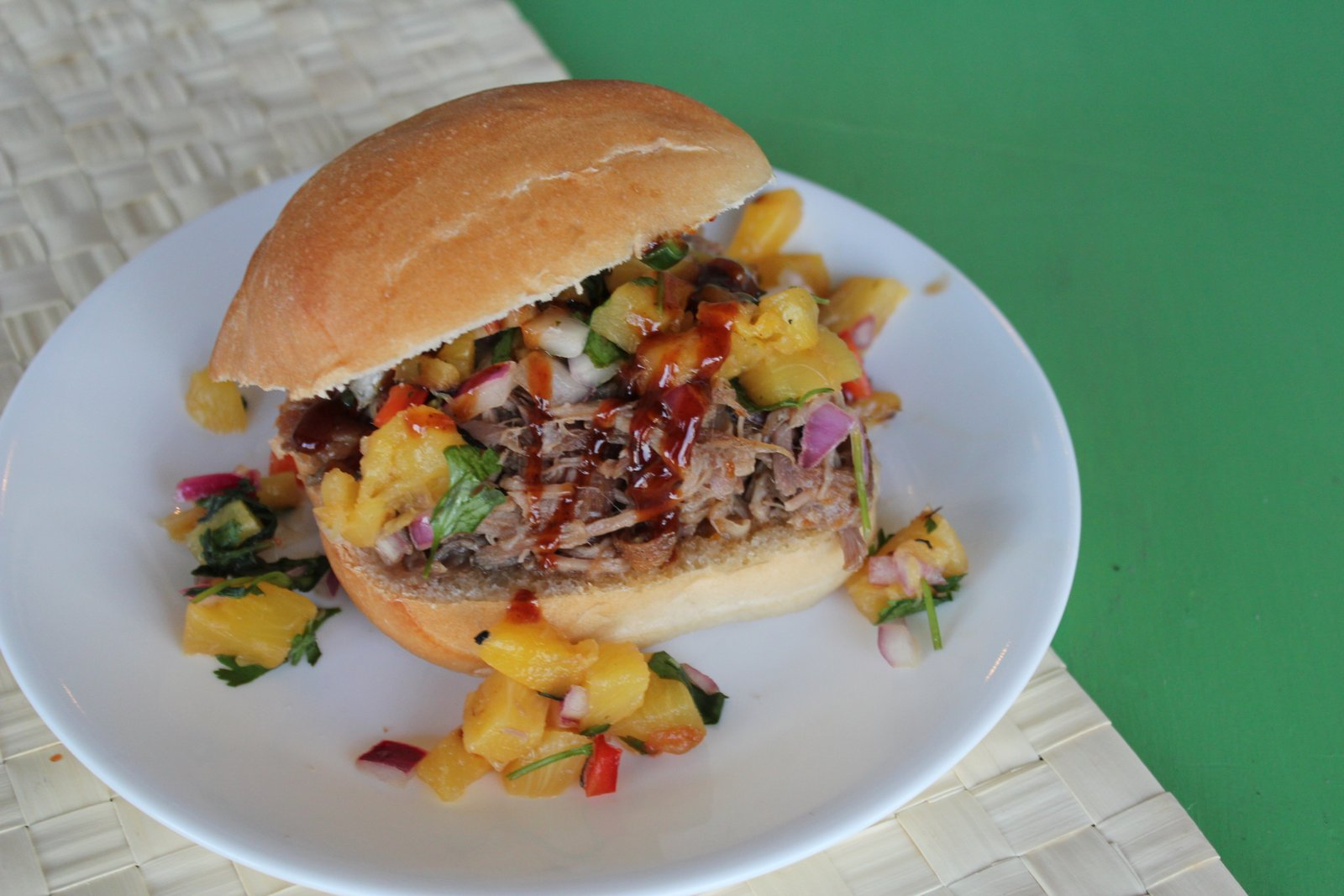 ... Bun - Hawaiian BBQ Pulled Pork Sandwich with Grilled Pineapple Relish