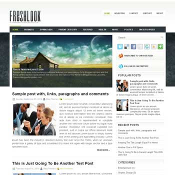 FreshLook blog template. magazine blogger template style. magazine style template blogspot