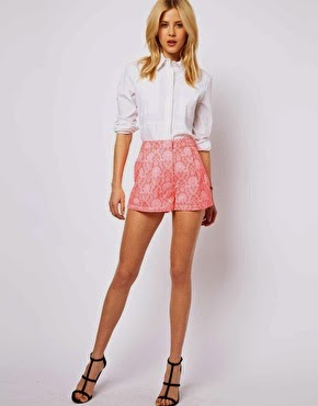 asos coral shorts floral statement