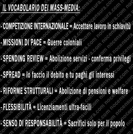 Politica italiana e mondiale Vocabolario+mass+media