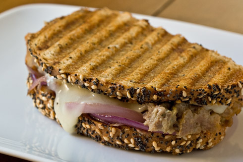 Meatloaf Patty Melts with sweet red onion & Provolone Cheese