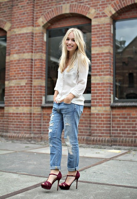 Yara Michels chose red heels boyfriend jeans this chick's got style blog