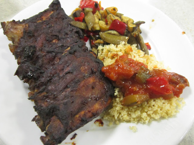 ... first plate of sidings: Ratatouille, Couscous, and Sauteed Vegetables