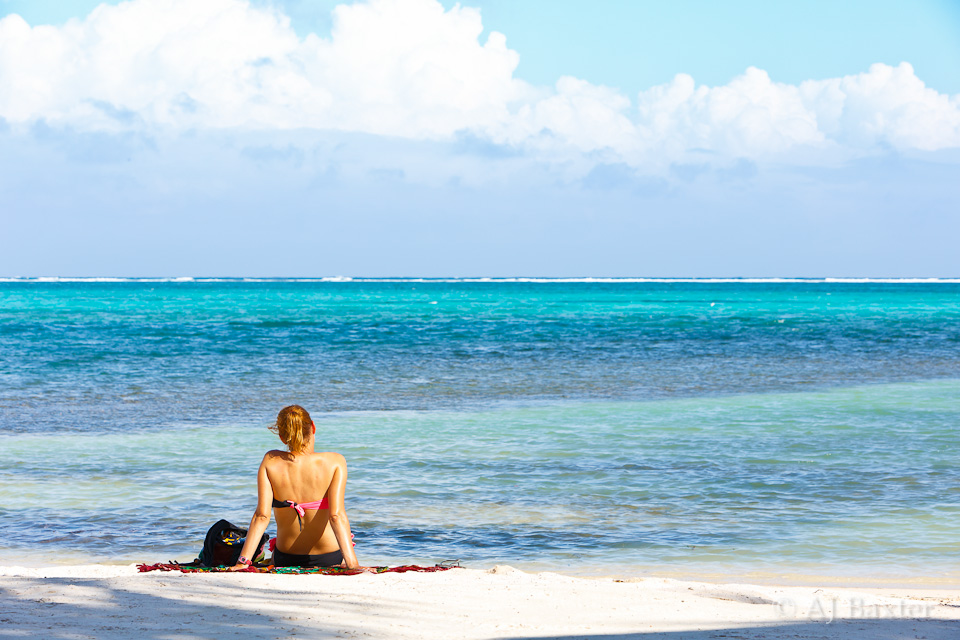 bikini,woman, sitting, reclining, beach, ambergris caye, belize