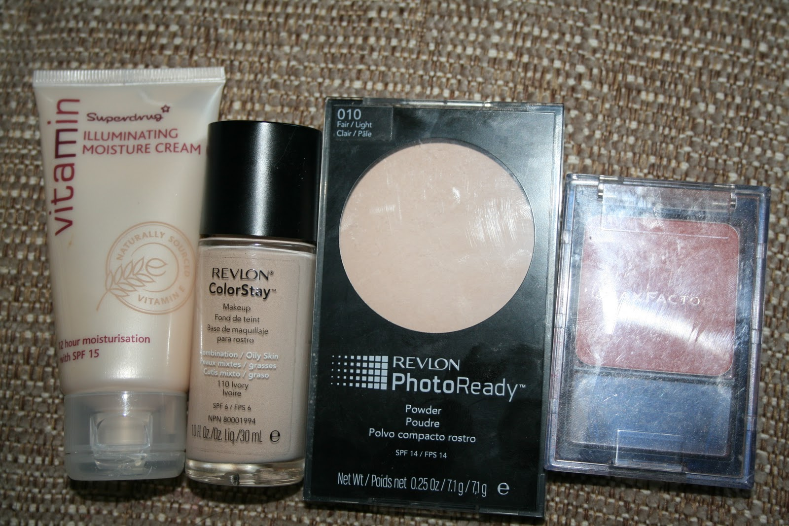 Blogger Of A Makeup Addict My Basic Look Ok From Left To Right Is Superdrug Vitamin E Illuminating Moisture Cream With Spf 15 Revlon Colorstay Liquid Foundation For Combination Oily Skin In 110