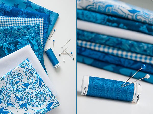 ткань стопкой, ткань и булавки, синяя ткань