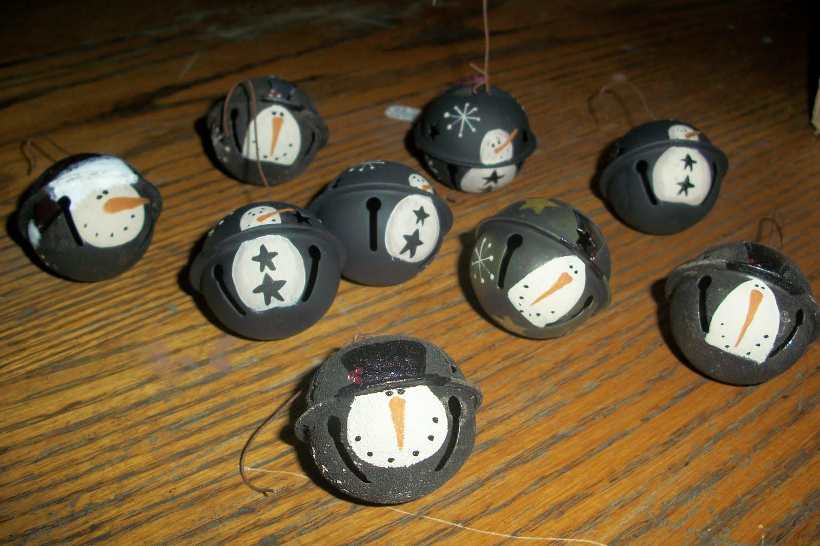 Jingle bell ornaments - Primitive Snowman Jingle Bell Ornaments