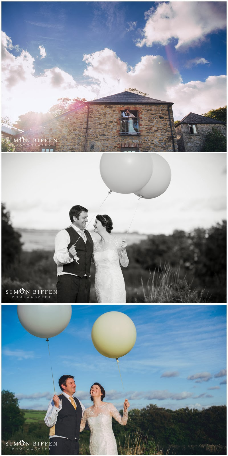 Bride and Groom and balloon Trevenna Cornwall