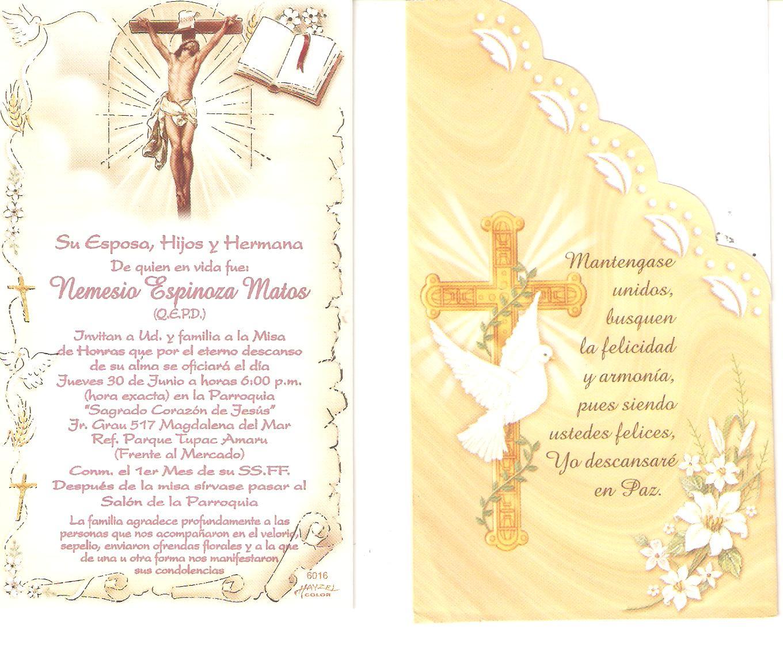 Invitacion a Misa De Difunto