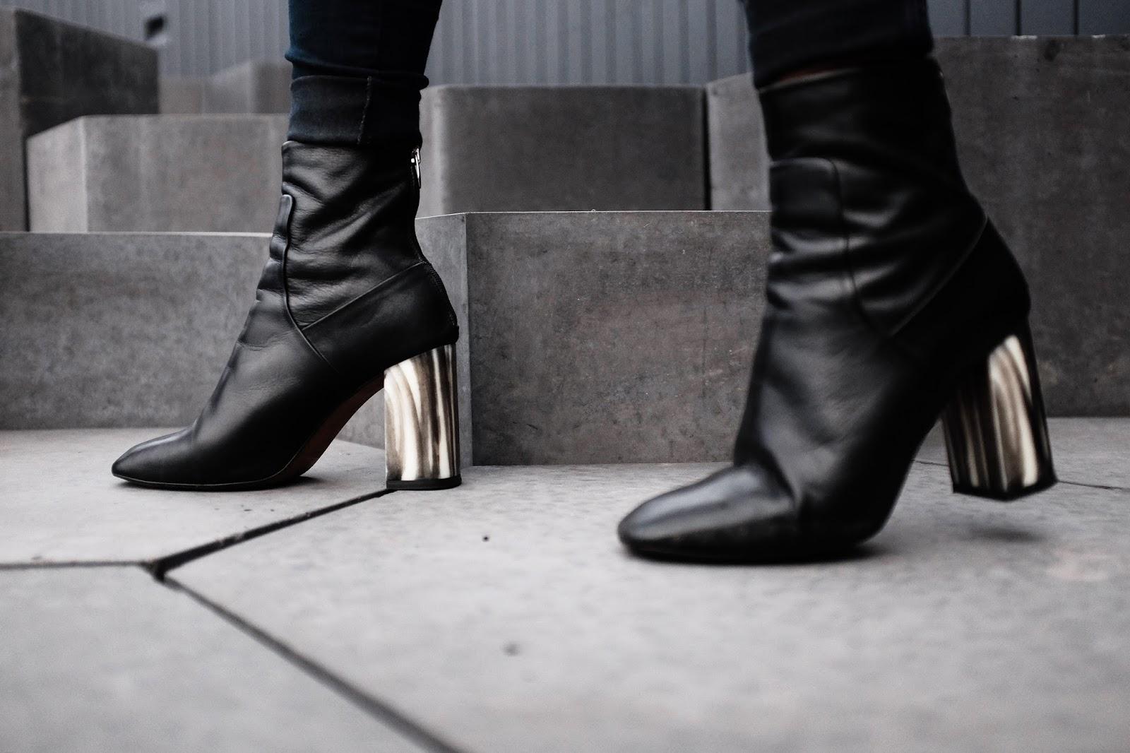 Black Topshop MUSE Bone Heel Boots