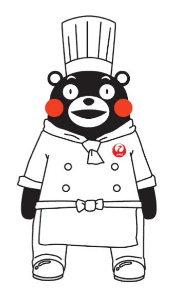 KUMAMON dressed in JAL chef uniform
