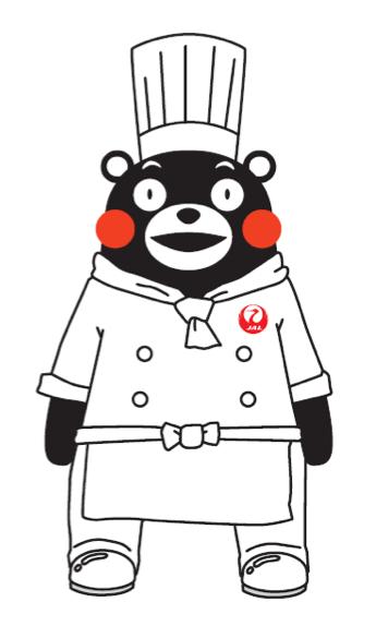 KUMAMON dressed in JAL chef uniform
