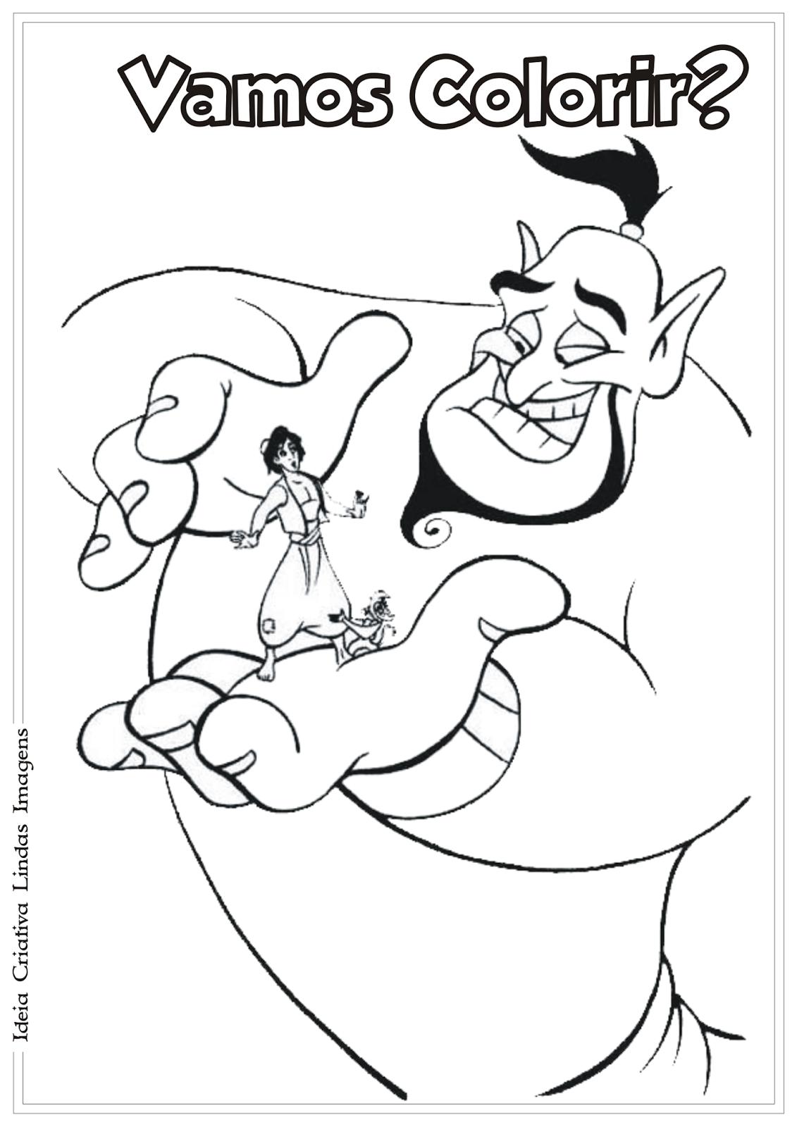 Excelente Aladdin Para Colorear Genio Cresta - Enmarcado Para ...
