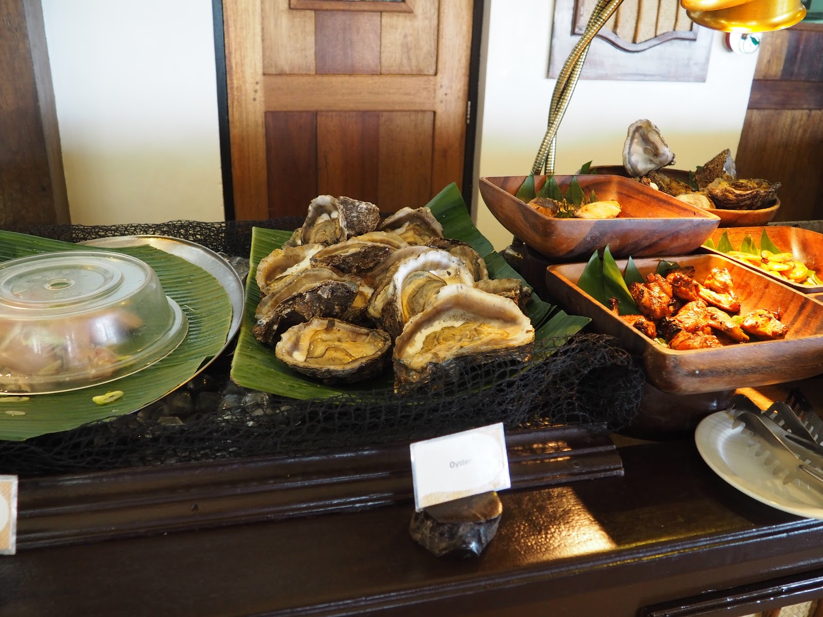 oysters on a buffet table, manioc island, el nido