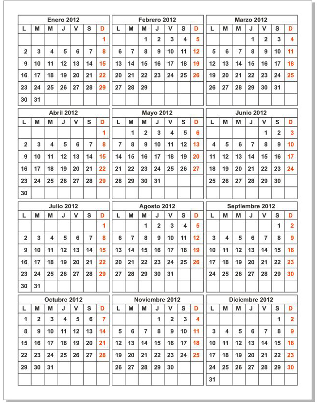 Calendario editable en CorelDRAW