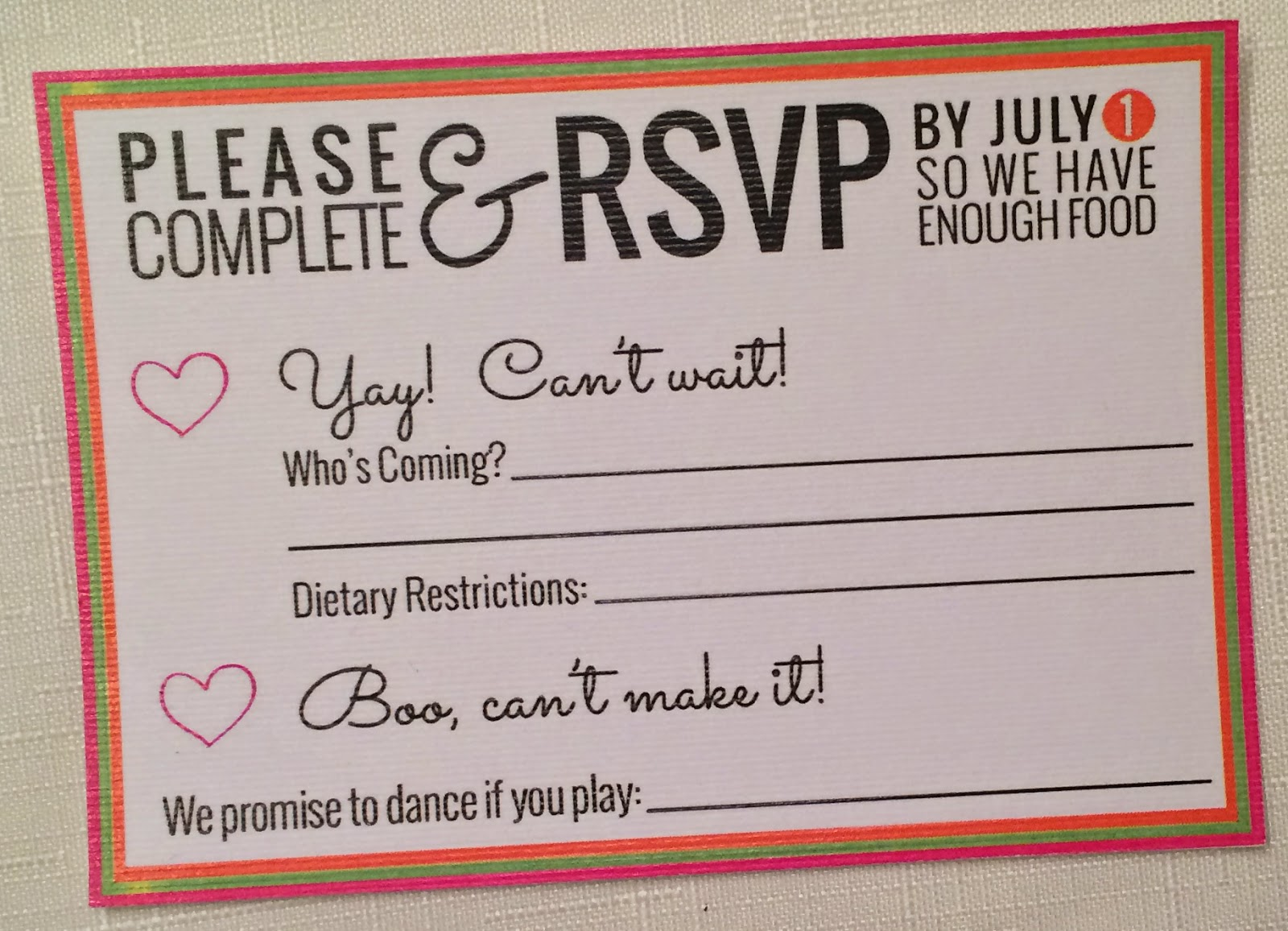 Doeblerghini Bunch:  Wedding Invite Details - RSVP Card