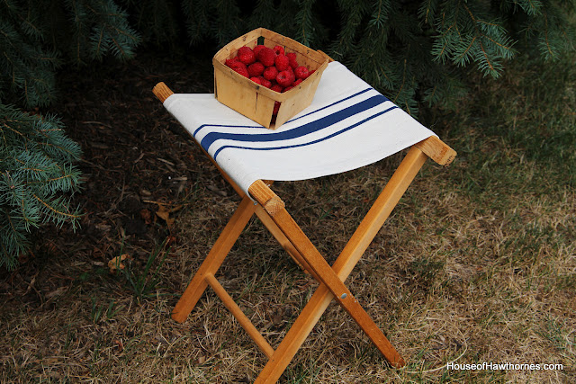 Make a vintage grain sack camp stool by House of Hawthornes, via I Love That Junk