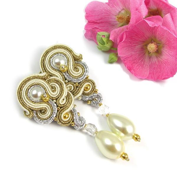 Perłowe kolczyki ślubne soutache w stylu vintage