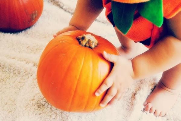 Baby holding a pumpkin