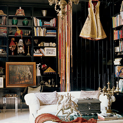 Gorgeous Black Painted Walls And Bookshelves By Tria Giovan