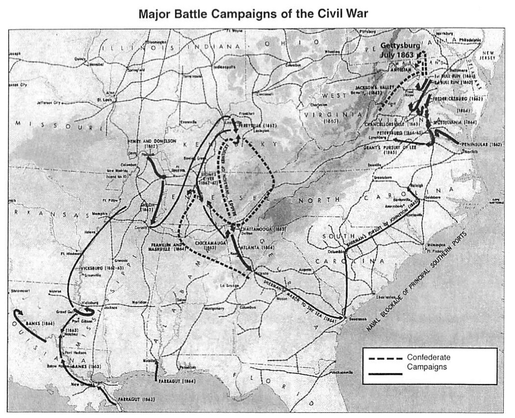 dashed lines represent confederate campaigns solid lines represent union campaigns