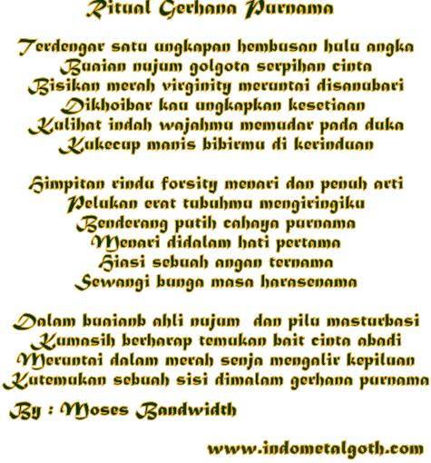 Photo Gothic Metal Lyric (Poem / Poetry ) By Moses Bandwidth - Ritual Gerhana Purnama
