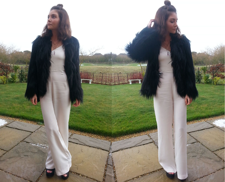 street style white silk jumpsuit and black fur coat fashion blogger