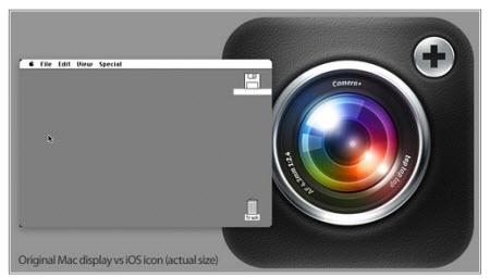 un icono de iOS es más grande que toda la pantalla del Mac original
