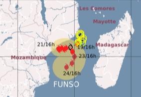 Tropischer Sturm FUNSO vor Mosambik wird voraussichtlich zu einem Major Hurrikan, Funso, aktuell, Januar, 2012, Indischer Ozean Indik, Afrika, Zyklonsaison Südwest-Indik, Vorhersage Forecast Prognose,