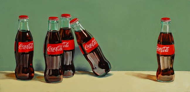 coca cola, coke art, still life, retro soda pop painting, jeanne vadeboncoeur, original art