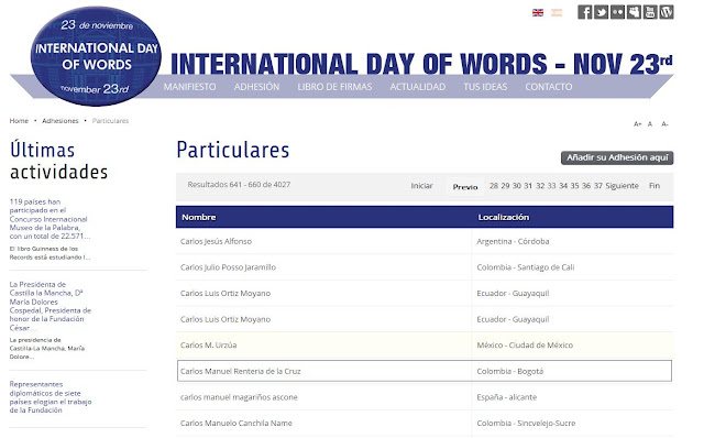 International Day of Words - Noviembre 23