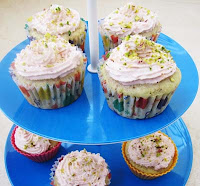 Pistachio Rosewater Cupcakes With A Pink Frosting