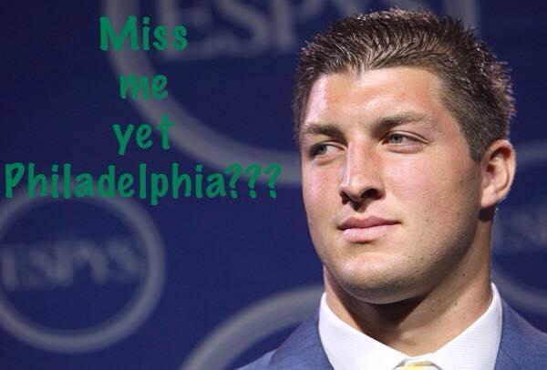 miss me yet philadelphia?? #timtebow #nfl #eagles
