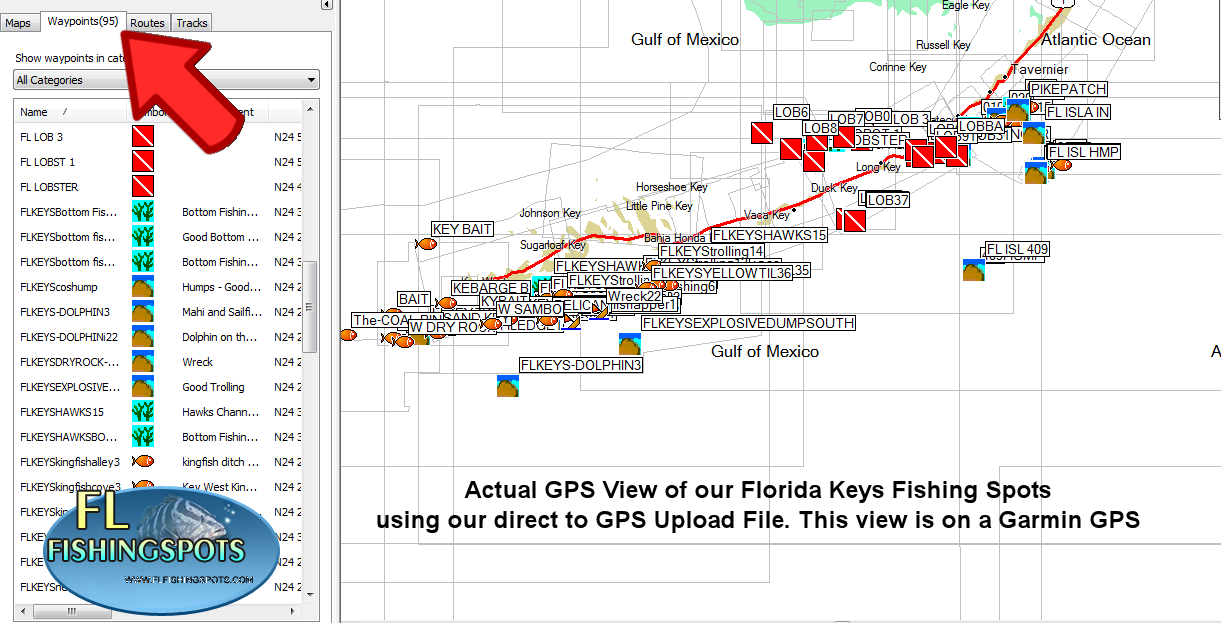 Florida keys fishing map gps fishing maps for Best fishing spots in the keys