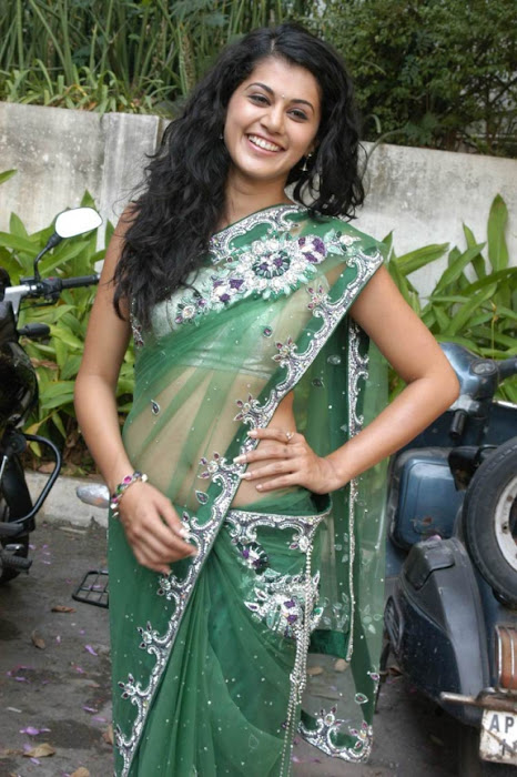 tapsee in shadow movie fame green saree , hot photoshoot