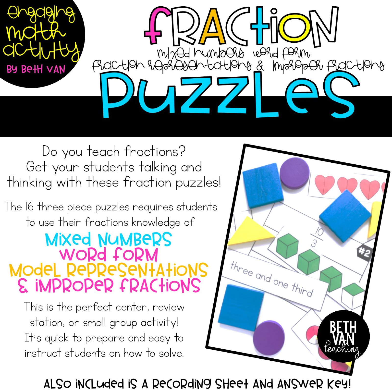 Fraction Puzzles! I Created These For Some Students That Needed Some  Strengthening With Their Fraction Foundation But Found That They Were The  Perfect
