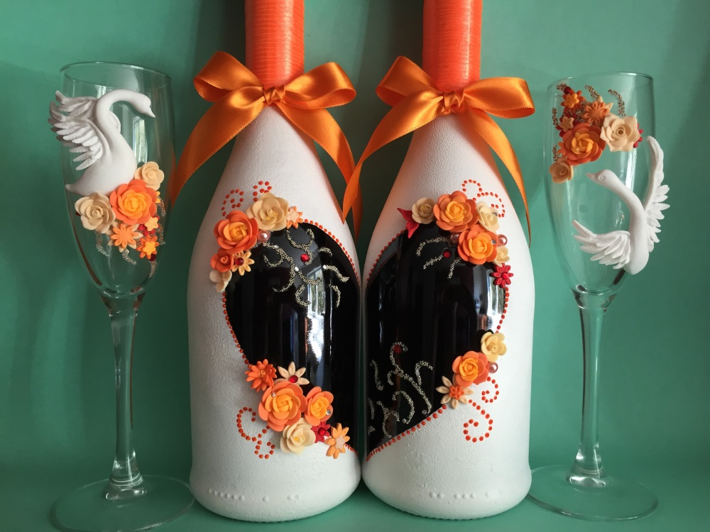 Фужеры и шампанское на свадьбу своими руками фото 74