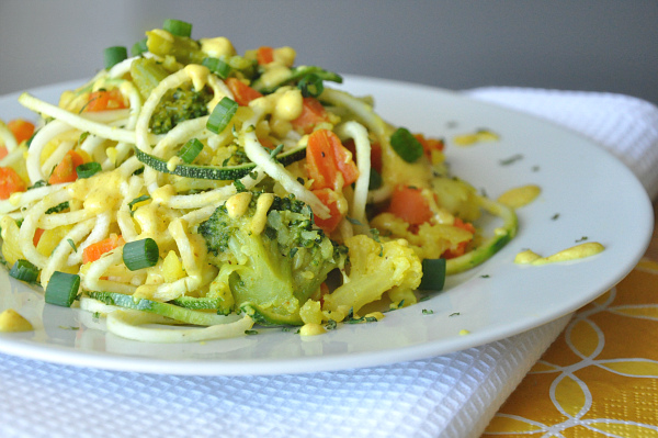spiral slicer zucchini salad with creamy curry dressing
