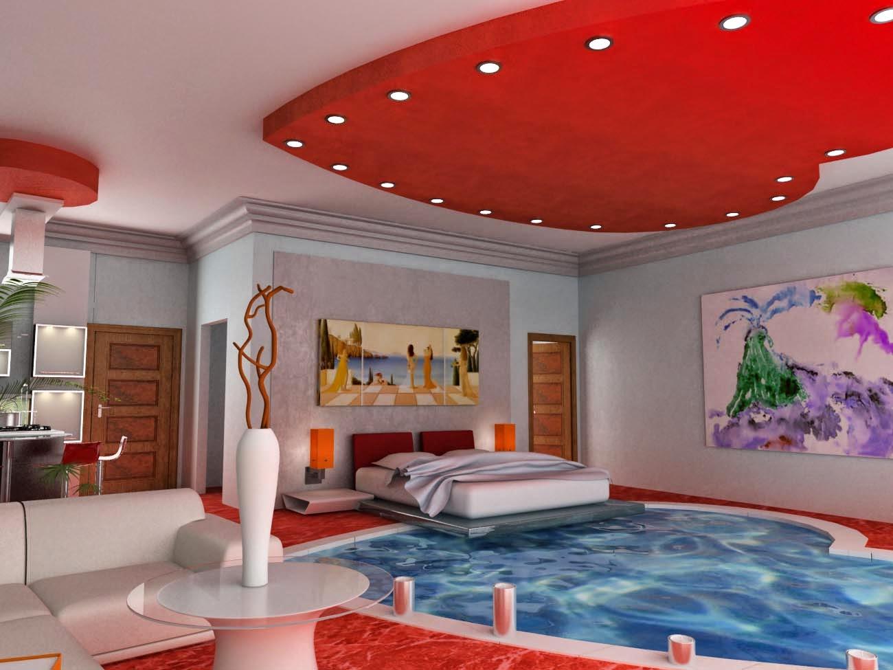 kolam renang di dalam kamar tidur