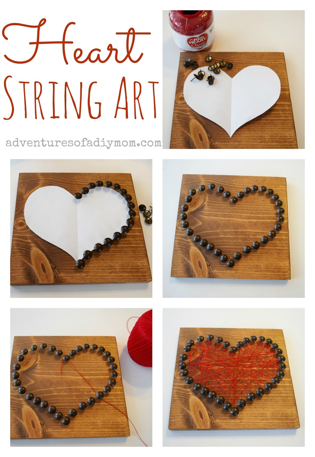 How to Make Valentines Heart String Art with Upholstery Tacks