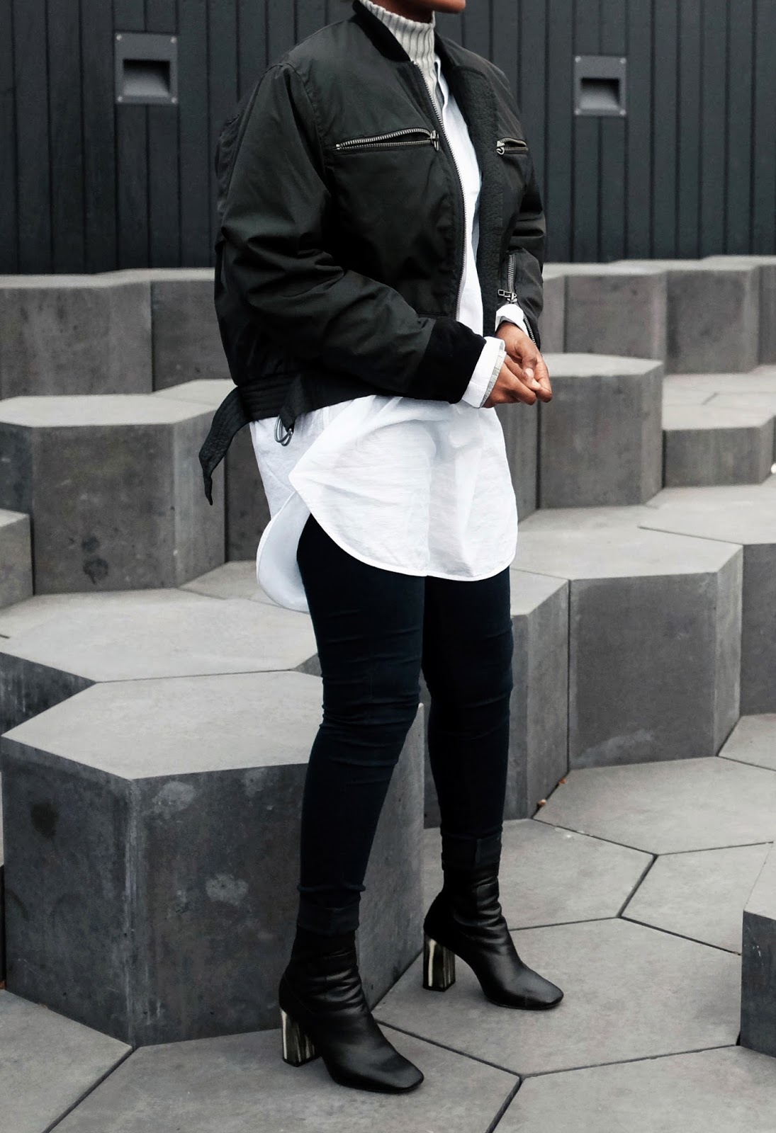 H&M Trend Bomber Jacket Grey Ribbed Missguided Jumper  White Oversized Weekday Shirt Black Topshop MUSE Bone Heel Boots