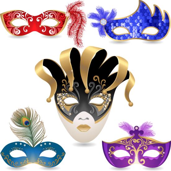 Máscaras de carnaval veneciano - Vector