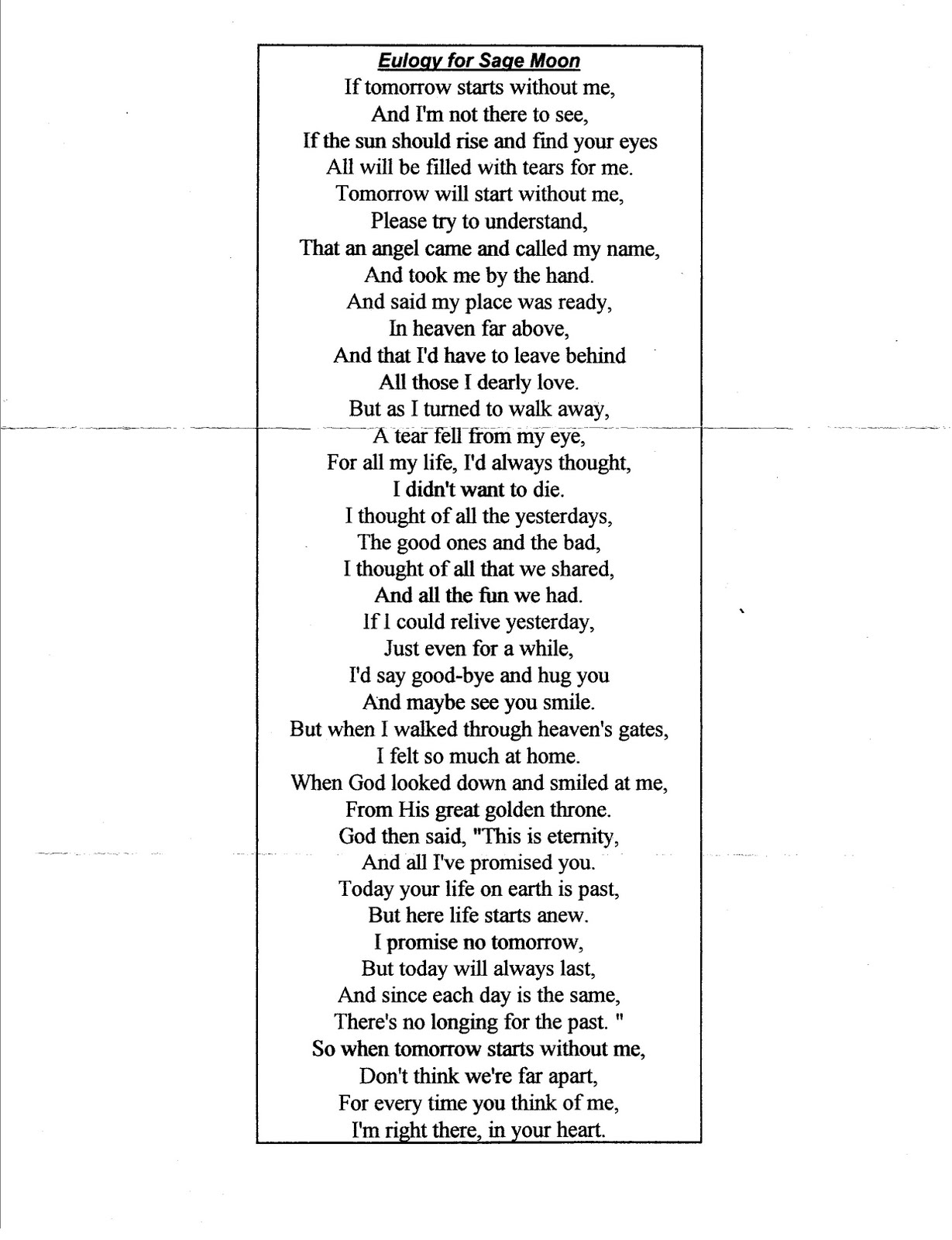 mom eulogy The same memorial poem can be used in the eulogy, on the service folder, on place cards,   scroll down for more funeral poems for mom seed card plantable heart.
