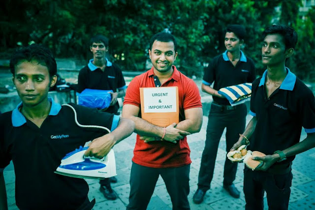 GetMyPeon Founder Bharat Ahirwar with his errand runners