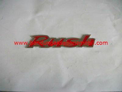 Emblem Alumunium Kombinasi Merah Rush