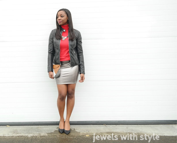 holiday party outfit ideas, metallic skirt, silver skirt, fancy skirt outfit, leather jacket and skirt, black leather jacket outfit, jewels with style, NYE outfit idea, Christmas party outfit ideas, black fashion blogger, columbus style blogger, black style blogger, mini skirt outfit idea