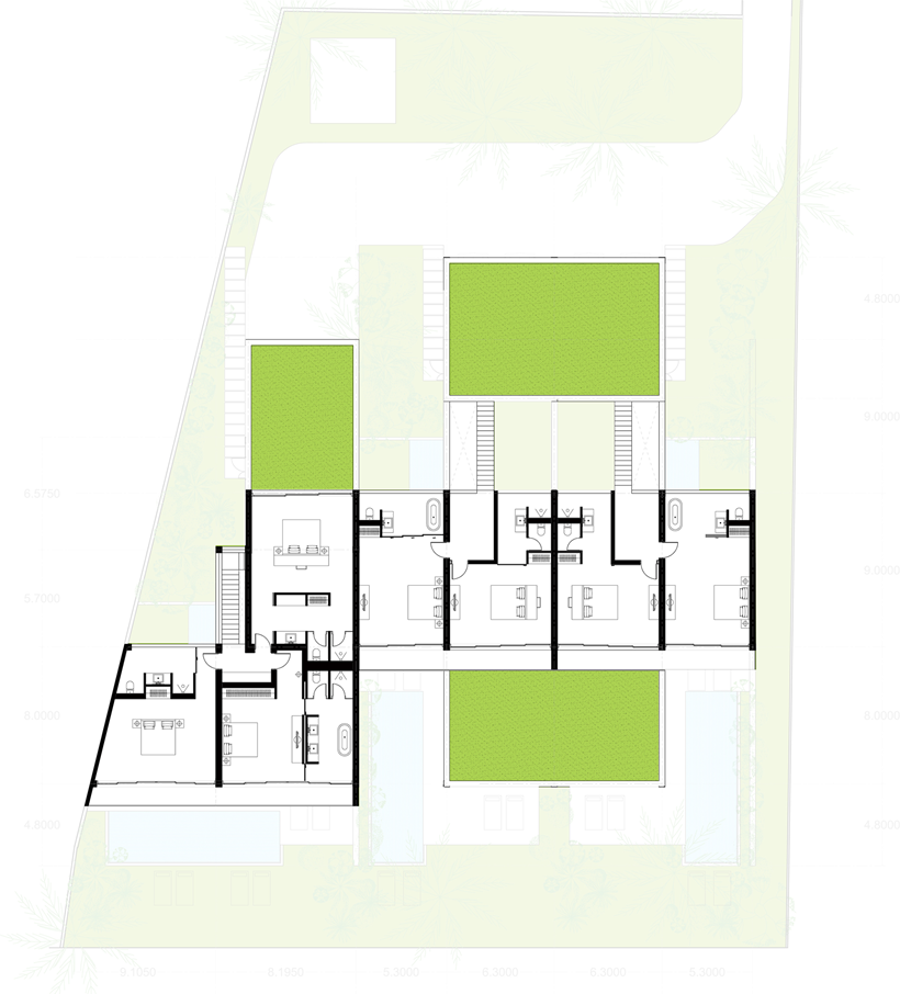 First floor plan of modern beach house
