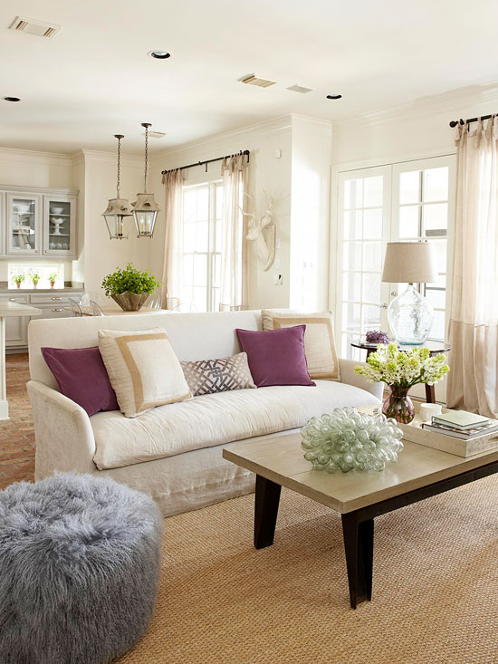 2013 neutral living room decorating ideas from bhg home for Neutral color furniture