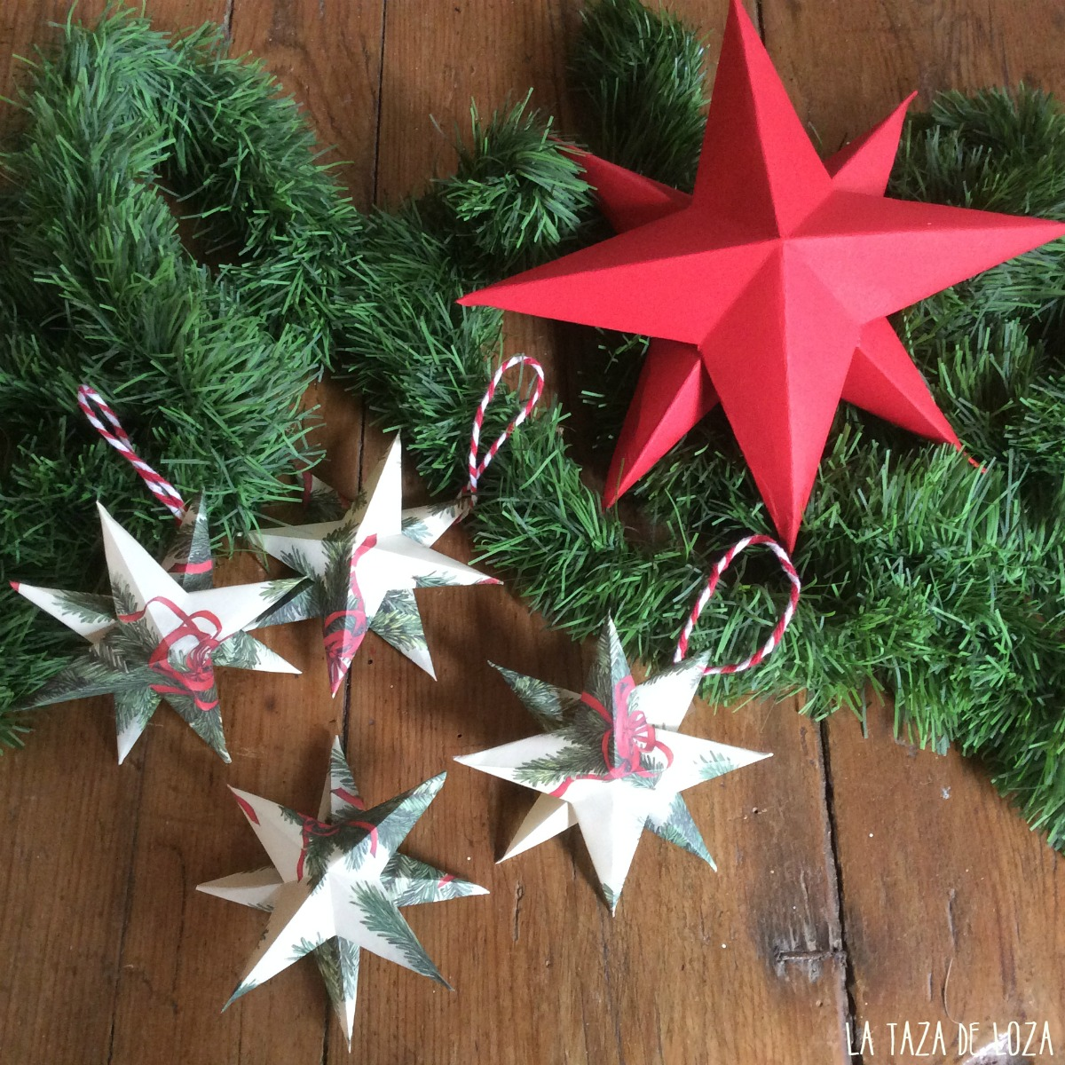 Estrellas de papel adornos de navidad la taza de loza - Adornos de papel para navidad ...